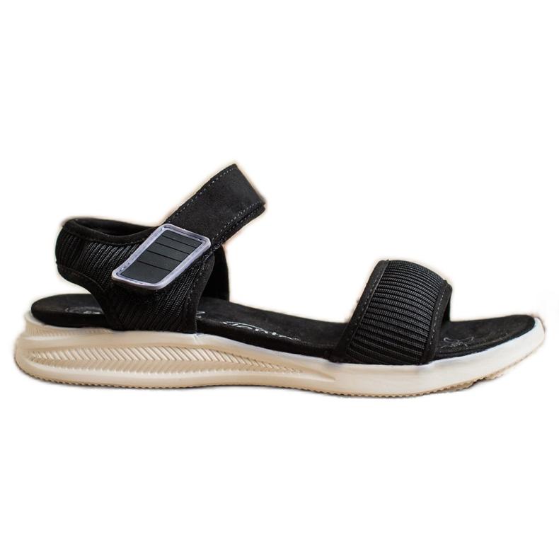 Evento Bekväma sandaler med kardborreband svart