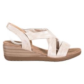 S. BARSKI Wedge Sandals S.BARSKI beige guld