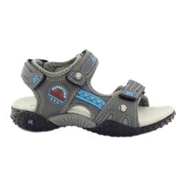 American Club Velcro sandaler med läderinsats American 1618 grå