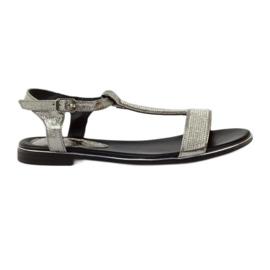 Daszyński grå Sandaler med platta klackar och zirkoner