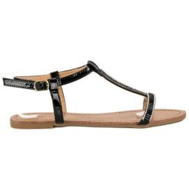 Abloom svart Lackerade platta sandaler