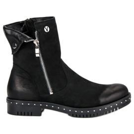Svarta stövlar med läder VINCEZA