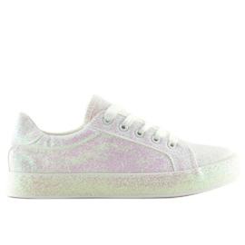 Opaliserande vita sneakers BL142 White