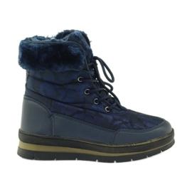 Sport Snow Boots On Fur DK marinblå