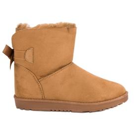 Brun Camel Snow Boots med en båge