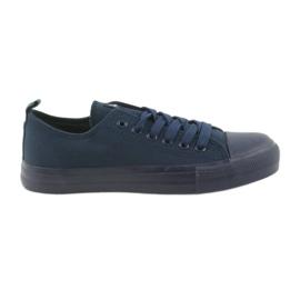 Marinblå Mäns skor bundna sneakers blå American Club LH05