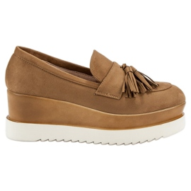 Corina Camel Loafers On Wedge brun