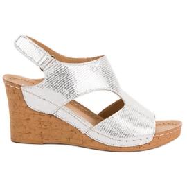 Filippo Silver Wedge Sandals grå
