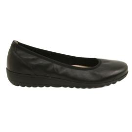 Svart Bekväma läderballerinas Caprice 22150