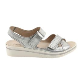 Grå Caprice sandaler kvinnors läderskor silver