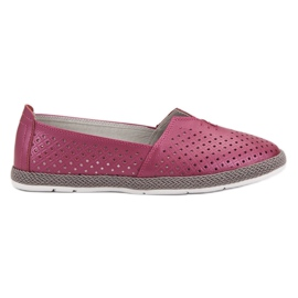 Lila Läder Sneakers Slip On VINCEZA