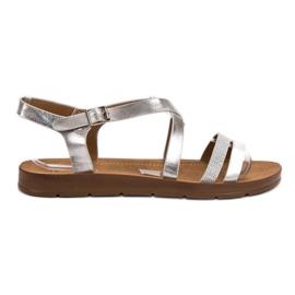 Filippo grå Silver Sandaler Med Kristaller