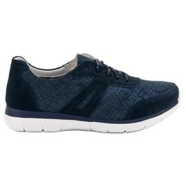 Filippo Navy Leather Sport Shoes blå