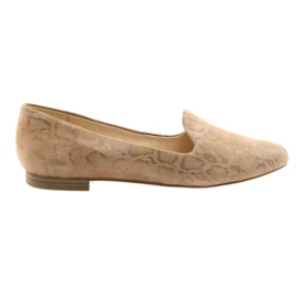 Brun Lordsy kvinnors läder balettskor Caprice 24203 beige