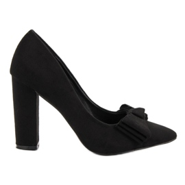 Seastar Suede Pumps With Bow svart
