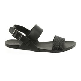 Bekväma svarta sandaler Filippo 685 brocade