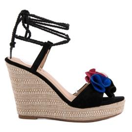 Seastar svart Bundet sandaler på kil