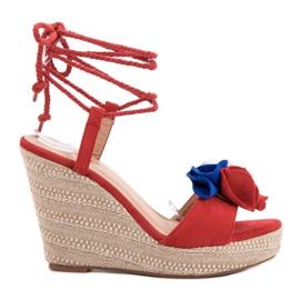 Seastar röd Bundet sandaler på kil