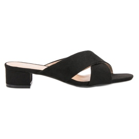 Small Swan svart Elegant Suede Flip