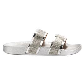 Seastar Silver Tofflor Med Kristaller grå