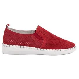 Filippo Läder Sneakers Slip On röd