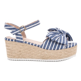 Seastar Wedge Sandals With Bow blå