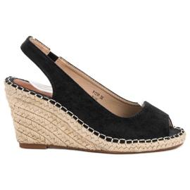 Seastar svart Sandaler På Wedge