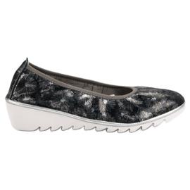 Filippo Navy Leather Ballet Shoes blå