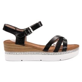 Seastar Snygga sandaler med zirkoner svart