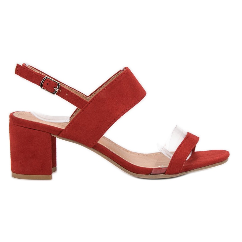 Ideal Shoes Fashionabla kvinnors sandaler röd