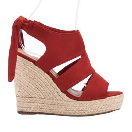 Cm Paris Röda Sandaler På Wedge