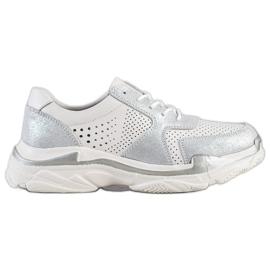 Goodin vit Läder Sneakers med Brocade