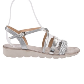 Kylie grå Silver Sandaler På Plattformen