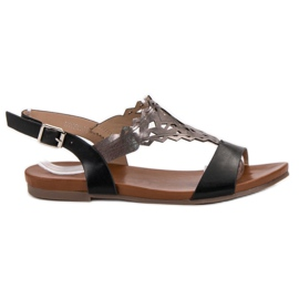 Kylie svart Snygga platta sandaler