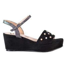 Aclys svart Casual wedge sandaler