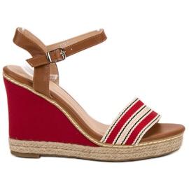 Primavera röd Casual wedge sandaler