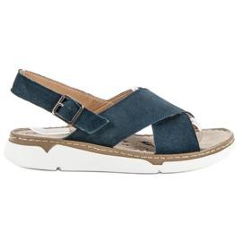 Filippo blå Läder Sandaler På Plattformen