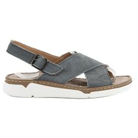 Filippo grå Läder Sandaler På Plattformen