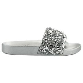 Seastar grå Eleganta Silver Tofflor