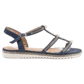 GUAPISSIMA blå Sandaler Med Pärlor