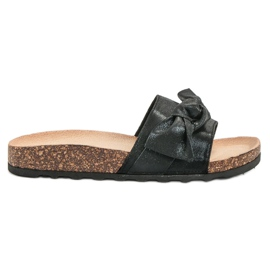 Queen Vivi svart Casual Flip Flops With Brocade