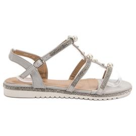 GUAPISSIMA grå Sandaler Med Pärlor