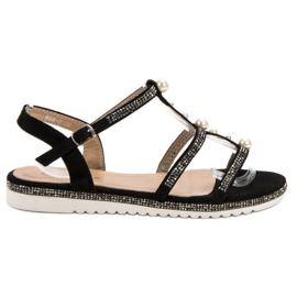 GUAPISSIMA svart Sandaler Med Pärlor