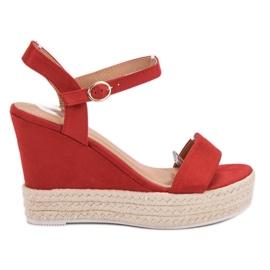 Ideal Shoes röd Snygga sandaler på kil