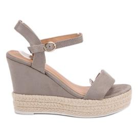 Ideal Shoes grå Snygga sandaler på kil