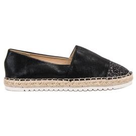 Erynn svart Slip-on skor med brokad