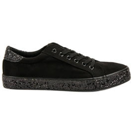 SHELOVET svart Sneakers With Glitter Sole