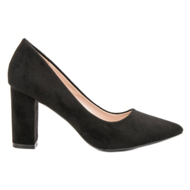 Diamantique svart Black Suede Pumps