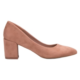 Small Swan rosa Suede Pumps