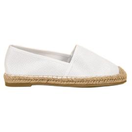 Ideal Shoes vit Suede Slip Shoes